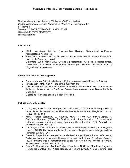 Curriculum Vitae De Cesar Augusto Sandino Reyes Lopez