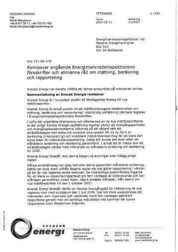 Energimarknadsinspektionen - Föreskrifter och ... - Svensk Energi