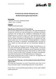 Protokoll des Bürgerforums Teil II - Zukunft Erkrath
