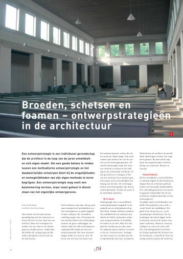 Broeden, schetsen en foamen ... - HDK Architecten