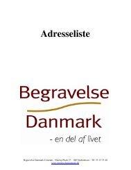Adresseliste - Begravelse Danmark A/S