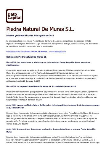 Piedra Natural De Muras SL, España - datocapital.com