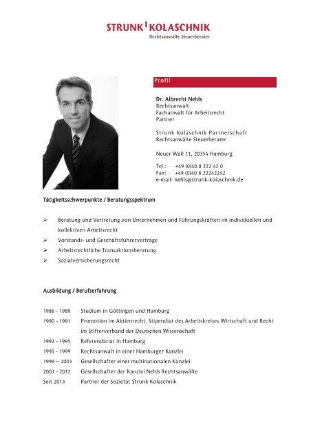 Profil Dr Albrecht Nehls Rechtsanwalt Fachanwalt Für Arbeitsrecht