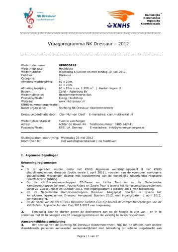 Koninklijke Nederlandse Hippische Sportfederatie - NK Dressuur