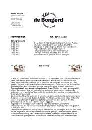 NIEUWSBRIEF feb. 2013 nr.22 Belangrijke data PIT ... - de Bongerd