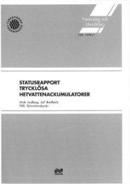 statusrapport trycklösa hetvattenackumulatorer - Svensk Fjärrvärme