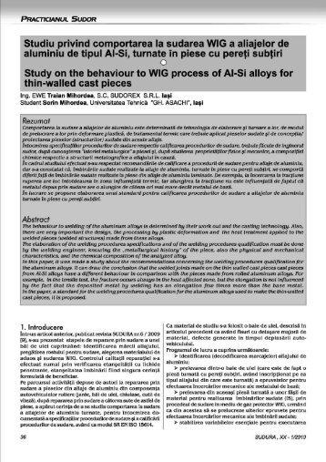 Studiu privind comportarea la sudarea WIG a aliajelor de aluminiu ...