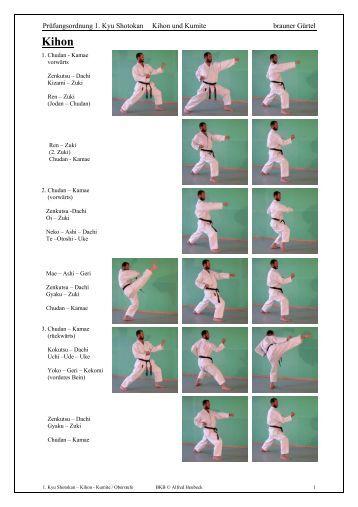 Prüfungsordnung 1. Kyu Shotokan Kihon und Kumite brauner Gürtel