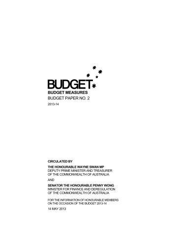 Budget 2013-2014 - Budget Paper No.2: Budget Measures ...