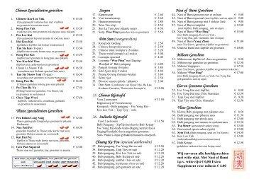 Fong Sing Restaurant Menu