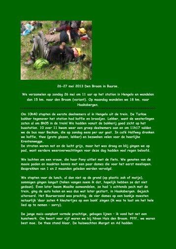 26-27 mei 2013 Den Broam in Buurse. We verzamelen op zondag ...