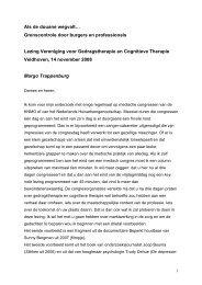 Lezing voor de vereniging Gedragstherapie en cognitieve therapie