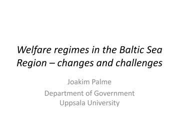 Welfare regimes in the Baltic Sea Region
