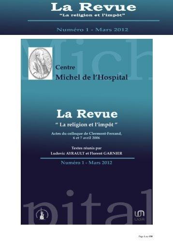 La Religion et l'impôt - Université d'Auvergne