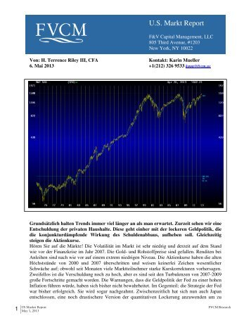 U.S. Markt Report, 5/13 - F & V Capital Management