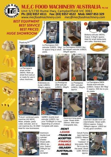 download our current catalogue for USED pasta equipment in stock.