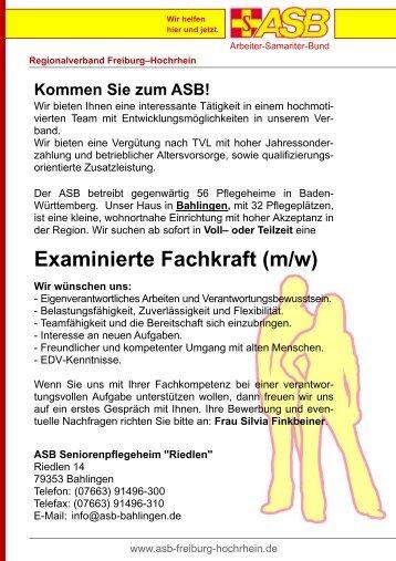 Examinierte Fachkraft (m/w) - ASB Freiburg-Hochrhein
