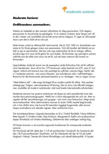 Moderata Seniorer Ordförandens sommarbrev. - Moderaterna