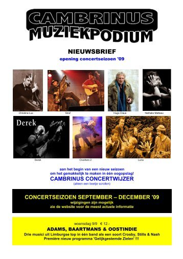 Concertwijzer seizoen '09 - Cambrinus Concerten