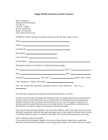 Puppy sale contract topperlyn kennels llc for Dog breeding contract template