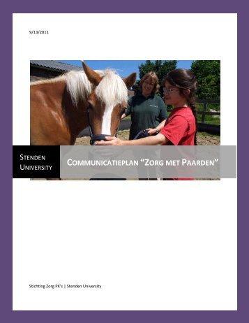 """Communicatieplan """"Zorg met Paarden"""" - ZorgPKs"""