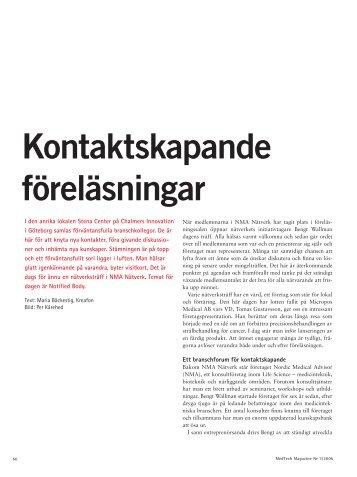 Kontaktskapande föreläsningar - Nordic Medical Advisor