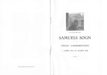 Samuels Sogn 3. årsberetning - Kingo-Samuel
