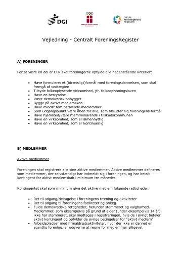 Vejledning - Centralt ForeningsRegister