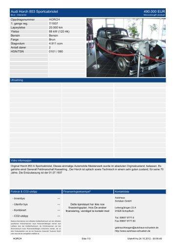 Audi Horch 853 Sportcabriolet 490.000 EUR - Autohaus Schülein ...