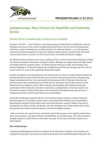 antispameurope: Neue Features bei Spamfilter und Continuity Service