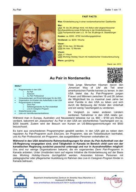 Infoblatt zu Au Pair - Amerika Haus