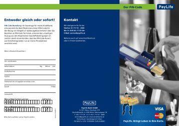Folder PIN-Code (pdf) - Kreditkarten