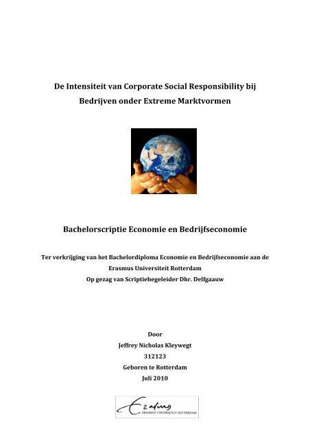 bachelor thesis bedrijfseconomie