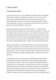 CAROLA HANSSON Tal på Övralid den 6 juli 2011 I sin bok Om ...