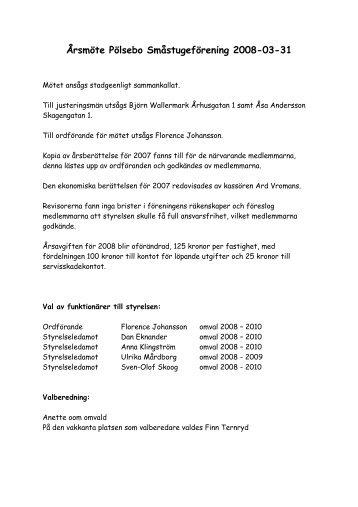 Årsmötesprotokoll 2008 - Pölsebo Småstugeförening