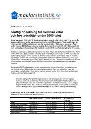 Kraftig prisökning för svenska villor och bostadsrätter under 2000-talet