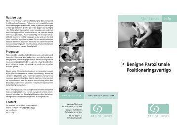 BPPV Benigne paroxismale Positioneringsvertigo - AZ Sint-Lucas