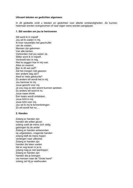 Uitvaart Teksten En Gedichten Algemeen In Dit Gedeelte Vindt
