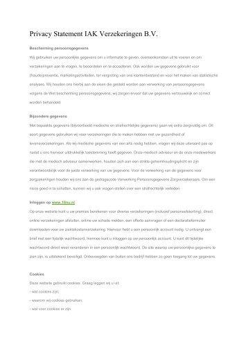 Privacy Statement IAK Verzekeringen B.V.