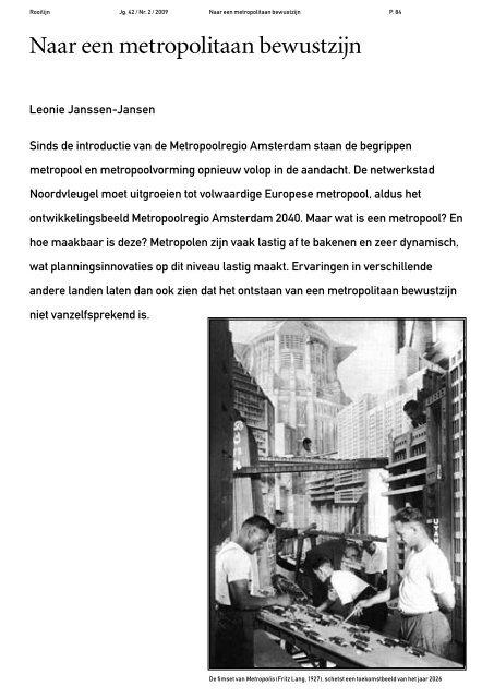 Naar een metropolitaan bewustzijn - UvA DARE - Universiteit van ...