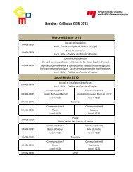 Horaire – Colloque GDM 2013 Mercredi 5 juin 2013 Jeudi 6 juin 2013