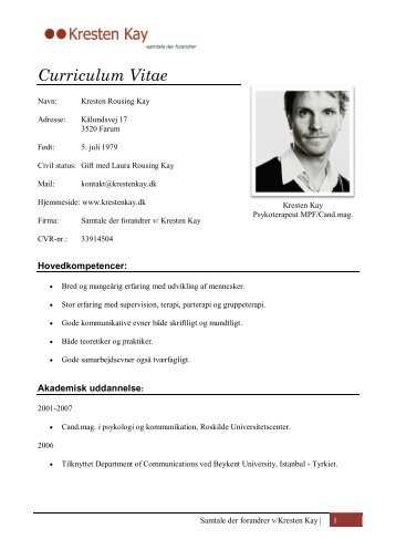 Curriculum Vitae - Psykoterapi v/Kresten Kay