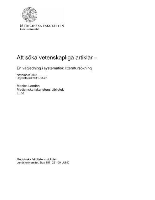 Att söka vetenskapliga artiklar – - Lunds universitet