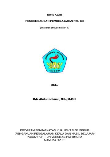 Pengembangan Pembelajaran PKn SD - Ode Abdurrachman Blogs