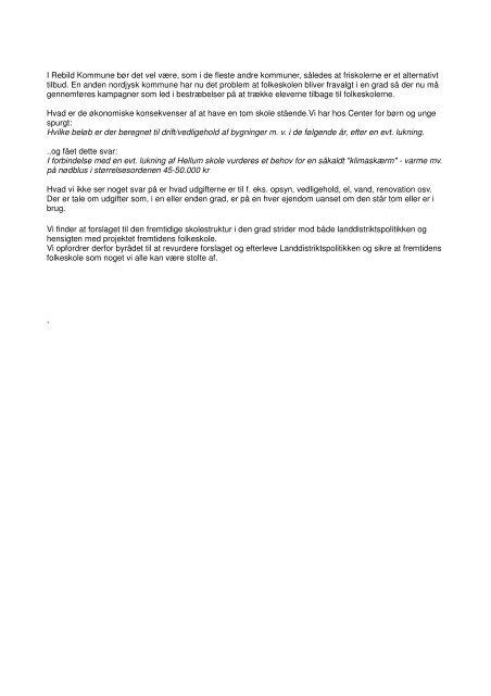 Høringssvar Hellum Skole I Landsbyrådet har vi med interesse fulgt ...