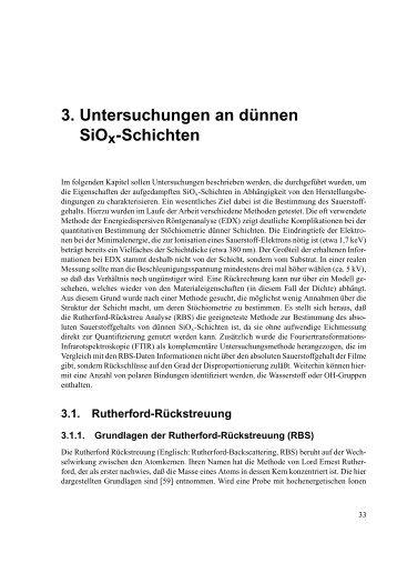 3. Untersuchungen an d ¨unnen SiOx-Schichten