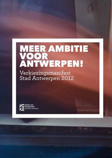 Het verkiezingsmanifest voor de stad Antwerpen - Voka