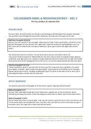CELLEKIRKEN BIBEL & MISSIONSCENTRET – DEL 2