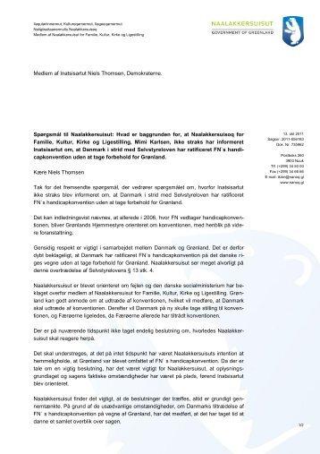 Svar på spørgsmål om FN´s handikapkonvention - Demokraatit