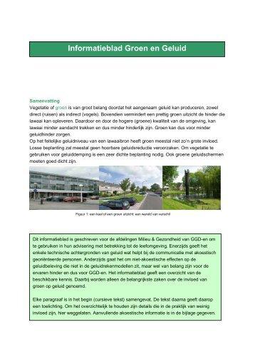 Informatieblad Groen en Geluid - GGD Amsterdam